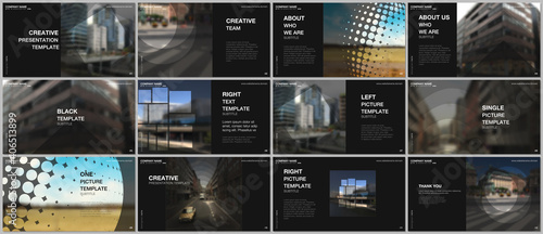 Obraz Presentation design vector templates, multipurpose template for presentation slide, flyer, brochure cover design, infographic report presentation. Corporate business concept with abstract ackgrounds. - fototapety do salonu