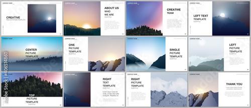Fototapeta Presentation design vector templates, multipurpose template for presentation slide, brochure cover, report
