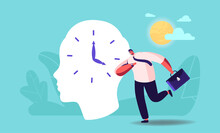 Businessman Character Hurry At Work Oversleep Due To Jet Lag Change Time Zone. Hormones Disorder, Deadline And Stress