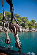 Nautical Antique Rigging Aboard Tall Ship In Croatia.