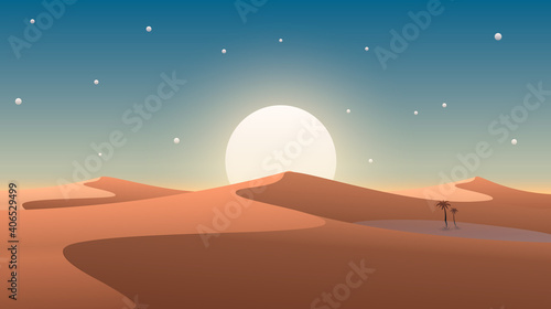 Fényképezés Desert cover with oasis and palm trees. Nature background. Vector