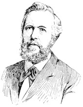 Portrait Of Ernst Haeckel - A German Zoologist, Naturalist, Eugenicist, Philosopher, Physician, Professor, Marine Biologist. Illustration Of The 19th Century. Germany. White Background.