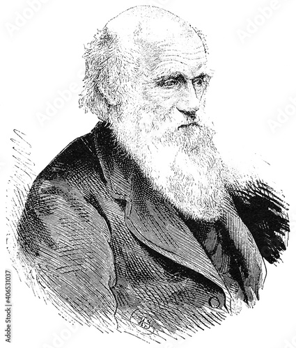 Obraz na plátně Portrait of Charles Robert Darwin - an English naturalist, geologist and biologist, best known for his contributions to the science of evolution