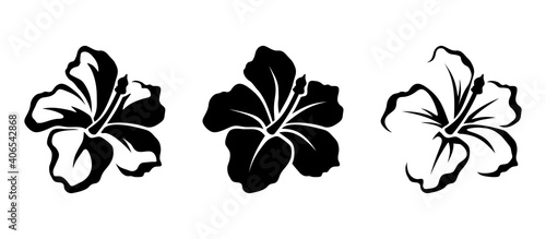 Obraz na plátně Vector set of black silhouettes of tropical hibiscus flowers isolated on a white background