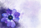 Watercolor painting of a blue anemone flower. Botanical illustration.