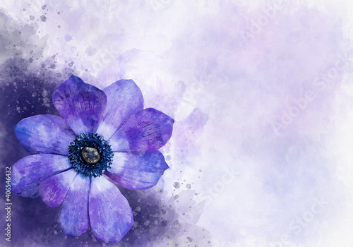 Watercolor painting of a blue anemone flower Fotobehang
