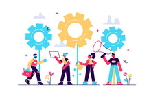 Flat Vector Illustrations, Team Work On Finding New Ideas, Little People