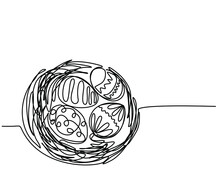 Easter Eggs In The Nest. Continuous Line Drawn, Modern Minimalist Style. Template For Easter Concept. Vector Illustration. Black On White, Easter Hand Drawing Illustration.