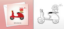 Happy Valentine Card Design With Vintage Motorbike Basket Full Of Hearts