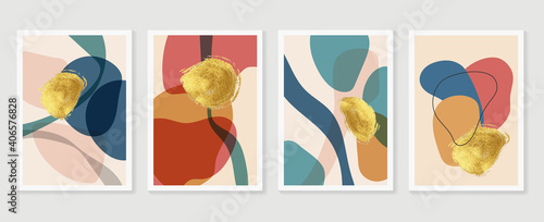 Fotografia, Obraz Botanical and gold abstract wall arts vector collection