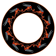Fantastic Round Decor, Frame Or Texture With Silhouettes Of Medieval Dragons Or Basilisks In A Ring. Illuminated Manuscript Motif.