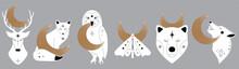 Mystic Collection Of Woodland Animals With Crescent Moon. Moth, Bear, Wolf, Fox, Deer, Owl. Celestial Elements. Vector Magic Animals. Boho Woodland Wildlife
