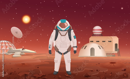 Vector illustration of astronaut in spacesuit standing at colony on planet Fototapet