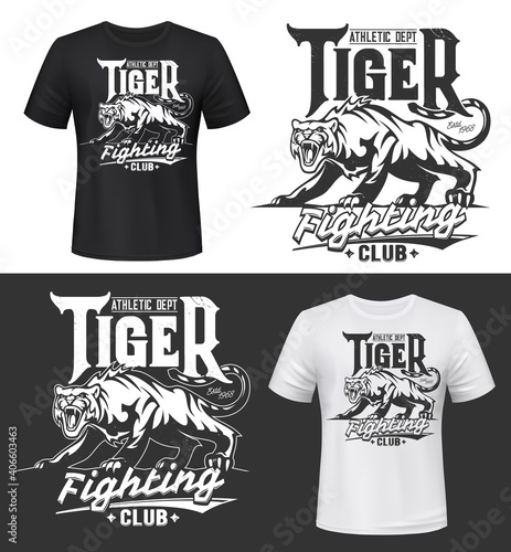 Tshirt print with tiger, roaring wild animal, fighting club vector mascot. Sport team symbol. Grinning tiger, wild cat crouched low on its haunches. Tattoo, talisman or t shirt apparel mockup emblem