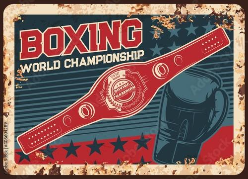 Fototapeta Boxing championship metal plate rusty, kickboxing or MMA fight club vector retro poster