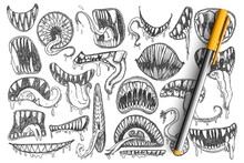 Spooky Teeth And Mouth Doodle Set. Collection Of Hand Drawn Scary Mouth, Teeth, Tongue As Snake Or As Tattoos Isolated On Transparent Background