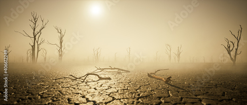 Obraz na plátne global warming and drought. thirst. post apocalyptic world.