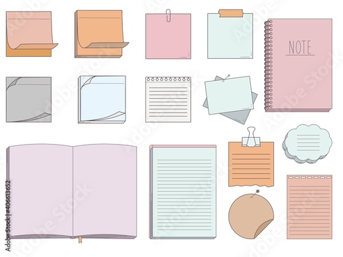 Obraz Collection of papers for memo - notepads, stickers, notebooks isolated on white background. Vector illustration - fototapety do salonu