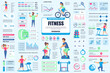 Bundle fitness and sports infographic UI, UX, KIT elements. Different charts, diagrams, workflow, fitness equipment, gym, cardio workout design template. Vector info graphic and infographics set.