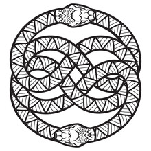 Design In The Gothic Style. Two Intertwined Snakes