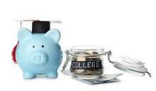Piggy Bank And Jar With Savings For Education On White Background