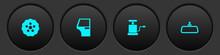 Set Gear, Car Door, Air Pump And Mirror Icon. Vector.