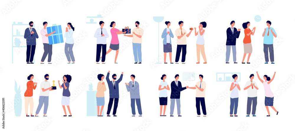 Fototapeta Colleagues clapping. Thankful business people, man woman support employees. Office enthusiastic characters clap in hands utter vector set. Business people support and celebration illustration