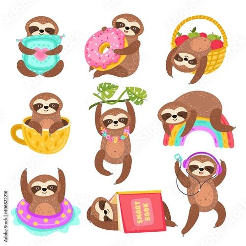 Fototapeta premium Cute sloths. Funny sleepy sloth, isolated wild jungle character. Cartoon animal on rainbow branch, in coffee cup under book exact vector set. Sleep sloth on branch, laziness mammal in cop coffee