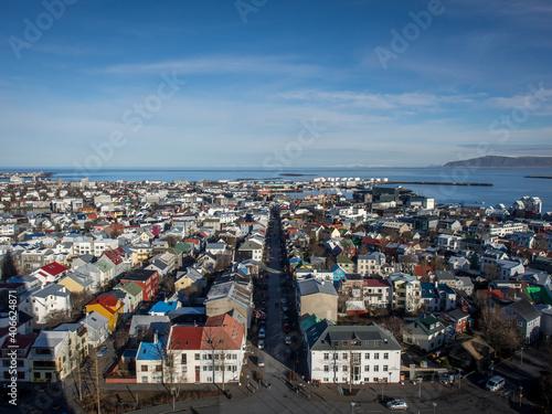 Billede på lærred Panoramic view of the city of Reykjavik from Hallgrimskirkja tower