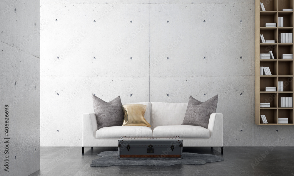 Fototapeta Minimal living room interior mock up, white sofa on empty concrete wall background, Scandinavian style, 3d render