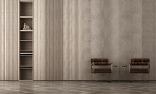 Modern Cozy Living Room Interior Mock Up, Leather Lounge Chairs On Empty Wood Wall Background, Scandinavian Style, 3d Render