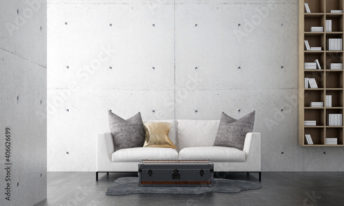 Obraz Minimal living room interior mock up, white sofa on empty concrete wall background, Scandinavian style, 3d render  - fototapety do salonu