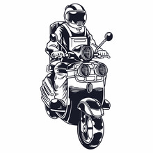 Astronaut Riding Scooter In Monochrome Style Isolated Vector Illustration. Biker Spaceman Rides Motorcycle. Print For T-shirts And Another, Trendy Apparel Design. Childish Vector Illustration