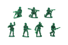 Miniature Toy Soldiers With Guns On White Background