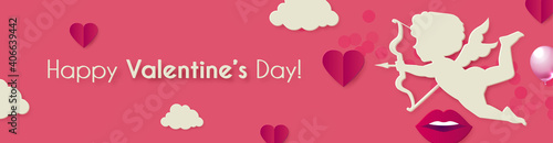 Foto Happy Valentine s day background with Cupid, hearts and clouds