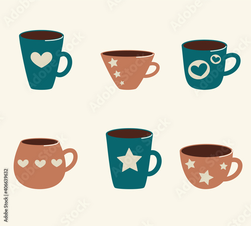 Fotografiet vector illustration collection of cups with stars and hearts