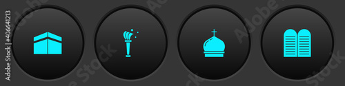 Set Kaaba mosque, Aspergillum, Church tower and The commandments icon Fototapet