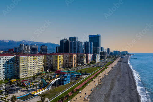 Fotografie, Obraz New boulevard in Batumi from drone, Adjara. Georgia