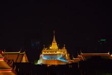 Wat Phra Kaew Or Wat Phra Si Rattana Satsadaram, Beautiful Night Time Of Wat Pra Kaew, Landmark Of Bangkok City, Temple Of The Emerald Buddha And Grand Palace.