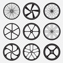 Bike Wheels. Motor Bicycle Round Shapes Circle Stylized Fitness Activity Symbols.. Rubber Gear Wheel To Bicycle, Mountain Bike Circle Illustration