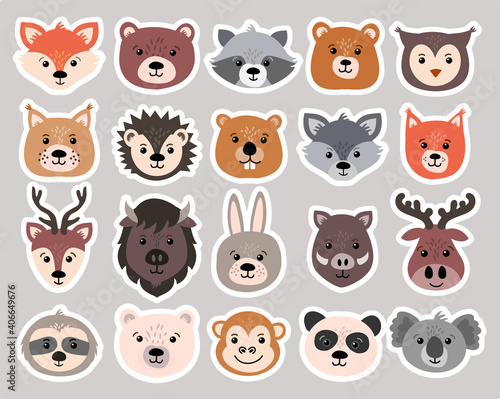 Fototapeta premium Beautiful set of child style woodland and exotic animals vector collection