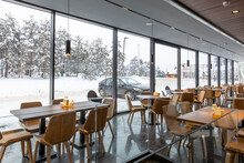 Interior Of A Modern Mountain Restaurant In The Winter