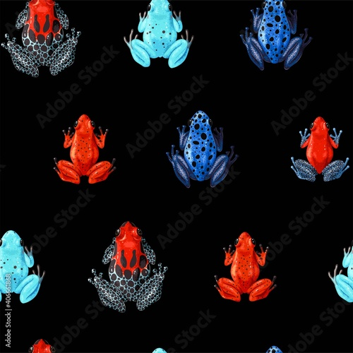 Fotografia, Obraz Vector seamless pattern with vivid tropical frogs