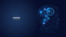 3d Gears In Head Digital Low Poly Wireframe. Engineering, Mechanical Technology Or Symbol Of Thinking, Idea Concept In Dark Blue. Abstract Mesh Illustration With Lines And Dots Looks Like Starry Sky