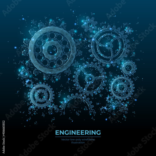 Fototapeta Abstract vector 3d gear wheels in dark blue. Cogs and gear wheel mechanisms wireframe. Engineering or mechanical technology concept. Digital low poly mesh with dots, lines, stars and flying particles obraz