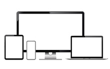 Modern Technology Devices - Computer Monitor, Laptop, Digital Tablet And Mobile Phone With Blank Screen