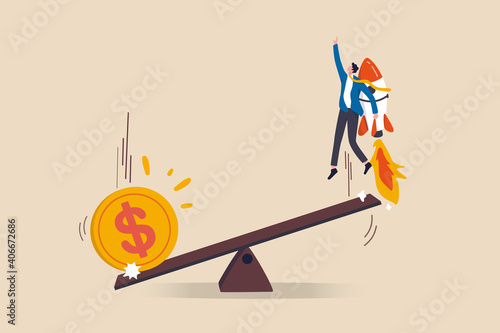 Economic stimulus money, central bank inject money to boost business and recover from Coronavirus COVID-19 crisis, big money dollar coin fall on seesaw to boost other side businessman with rocket Fotobehang