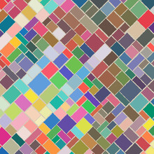 Colorful Square And Rectangle Shapes In A Row As Mosaic Tiles. Vector Illustration.