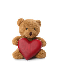 Cute Teddy Bear With Red Heart Isolated On White. Valentine's Day Celebration