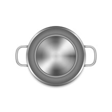 Stainless Steel Cooking Pot Isolated On White Background.